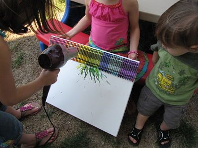 This craft is better for kids i'd say 5 or older but the younger ones absolutely love watching! Hot glue crayons to the top of a canvas and use your hairdryer to melt the crayons into some art. Super fast and the kids flip out over it!