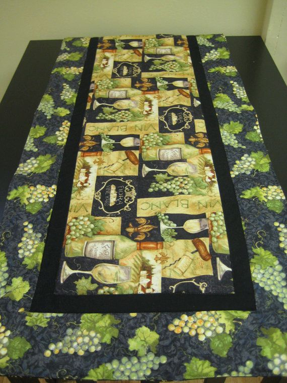 Quilted Wine Bottle Table Runner Runners Bottle And