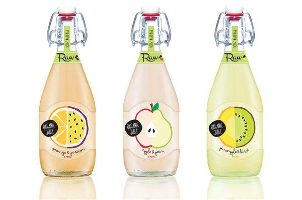 Raw Juice Bottle by Kenya Carroll, via Behance; Love the fruits organic juice #packaging PD