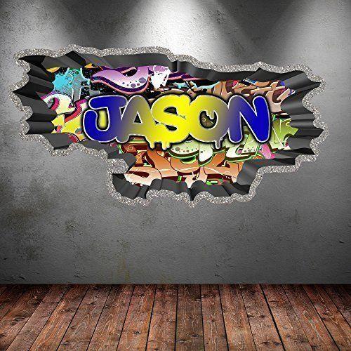 Coole Wandgestaltung Für Ein Jugendzimmer: Personalisiertes Wandtattoo Im  Graffiti Style. Der Wandsticker Wirkt Durch