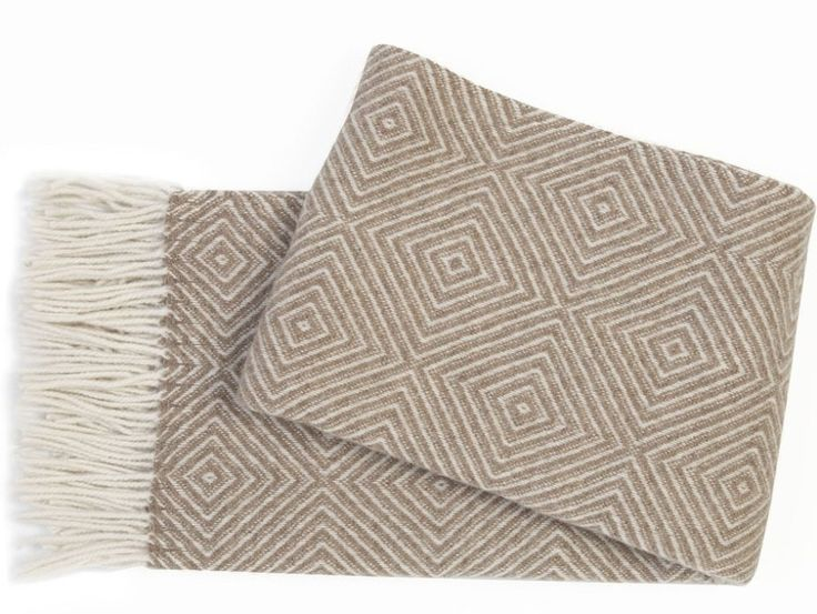 Geometric Beige Throw - A beautifully soft lamb's wool blend throw with a fashionable geometric design in neutral and versatile beige.