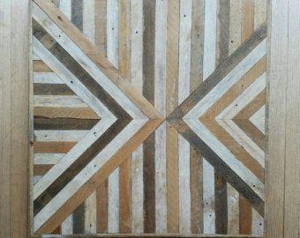Madera recuperada, Arte PARED geométrica, el patrón, el triángulo, invertido, listón 30 x 30, decoración de la pared