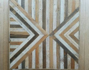 Reclaimed Wood Wall Art Decor Lath Geometric by EleventyOneStudio