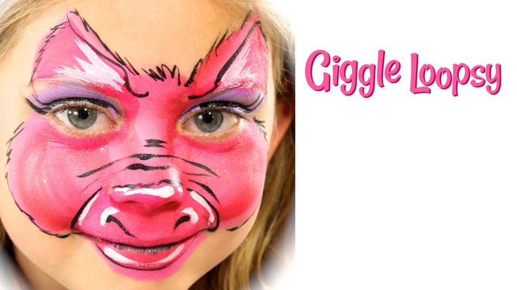One Stroke Pig Face Paint Tutorial by Giggle Loopsy