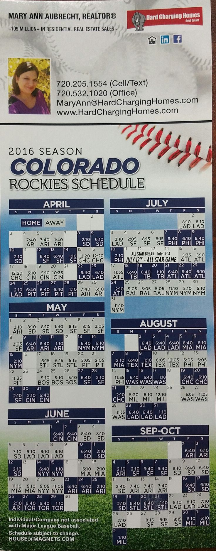 Colorado Rockies Schedule 2016