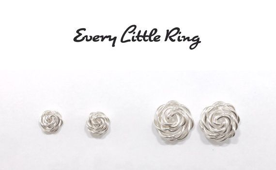 Sterling silver rose stud earrings silver wire by EveryLittleRing