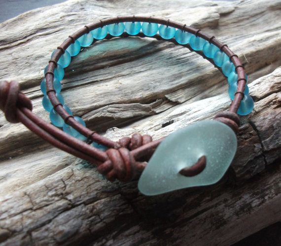 Inspiration: Sea glass jewelry, Scottish Seaglass and Frosted glass bead wrap bracelet- Seaglass seller by natures design-beachwear
