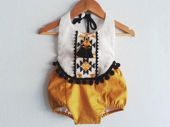 Baby Girl Romper/ Linen Boho Chic Sunsuit/ Baby by VivaBohoKids