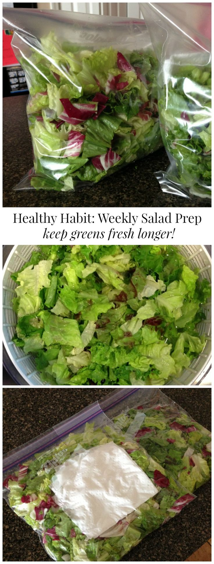 Weekly Salad Prep: Helps keep greens fresh longer and easier to make salads daily. I'm ready to get back in the salad!