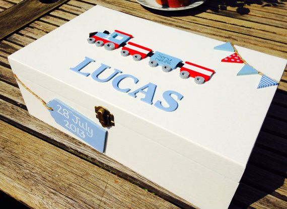 Personalised Keepsake box, memory box, train box, baby gift, baby present, baby shower present