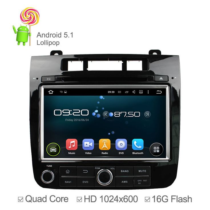 1024*600 Quad Core Android 5.1 Car DVD Player for Volkswagen VW Touareg 2010 2011-2013 GPS Navigation 16GB ROM Radio Wifi