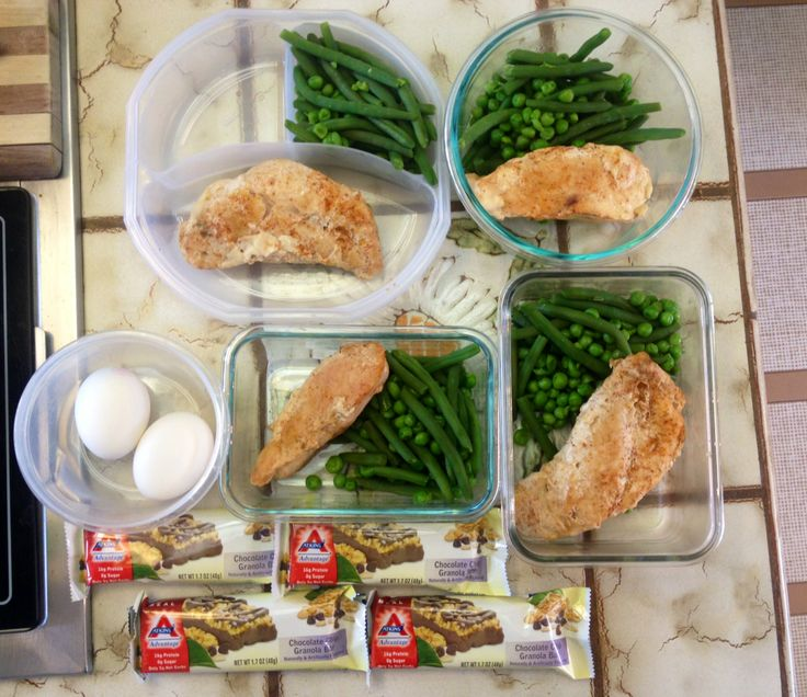 Meal Preppin :) Style: Atkins Diet  4 Atkins Breakfast Bars 4 Lunches - Chicken (seasoned with all seasons salt) alongside green beans & peas Snacks: 2 hard-boiled eggs