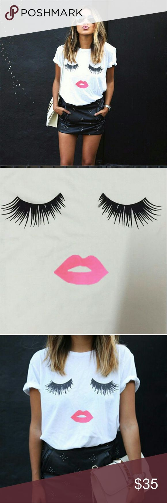 Kissy face tee shirt Cute kissy face tee shirt Short sleeve  Limited quantities   BOUTIQUE PRICES FIRM Tops Tees - Short Sleeve