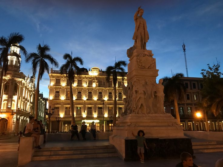 Old Havana. José Martí statue with the Inglaterra hotel and the Gran Teatro de La Habana in the background.