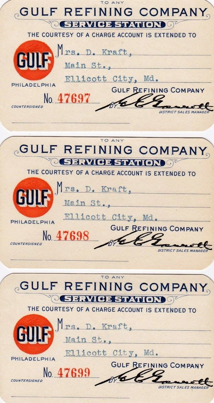 1929 GULF Oil Gas Credit Cards