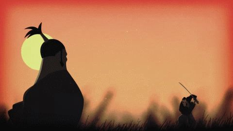 Animated sequence of an samurai battle