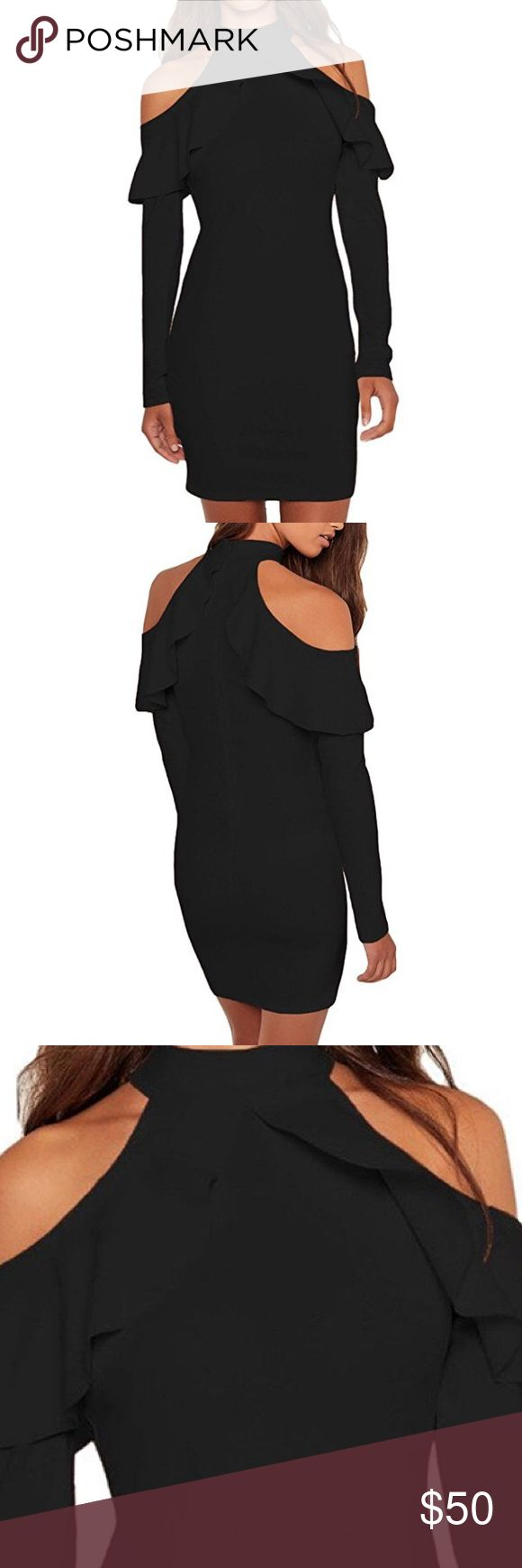 NWOT Black Cold Shoulder Long Sleeve Mini Dress Brand new little black dress with cold shoulders. Perfect for cocktail parties and a night on the town. Polyester and spandex material. Dresses Mini