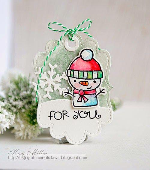 My Joyful Moments: Snowman Tag. Paper Smooches. Watercolor