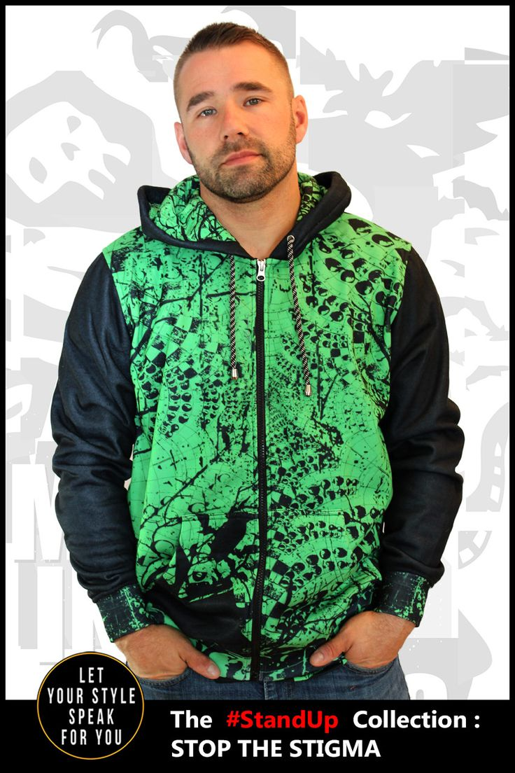 My inner ghouls that live in my head. Embrace yours with the edgy one-of-a-kind design of this men's zipper hoodie.