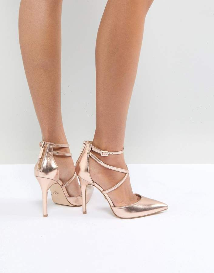 c05ce02574 Lipsy Rose Gold Court Shoe With Cross Strap - asos - rose gold metallic  strappy pumps