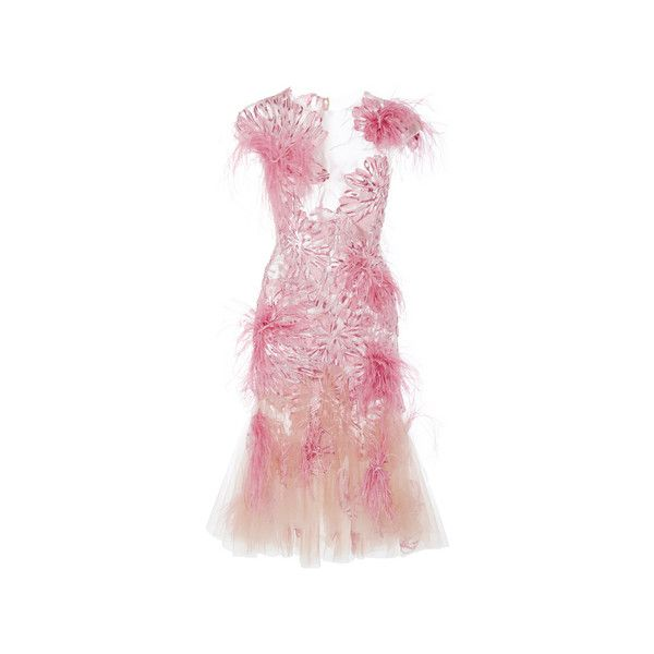 Marchesa Floral Feather Applique Cocktail Dress ($3,995) ❤ liked on Polyvore featuring dresses, dresses 3, marchesa, v neck dress, floral cocktail dresses, floral dresses, fit and flare dress and pink dress