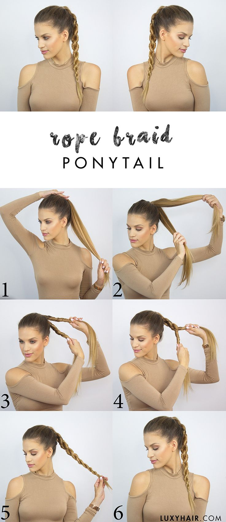 Back to school hairstyle how to do a rope braid ponytail                                                                                                                                                                                 More