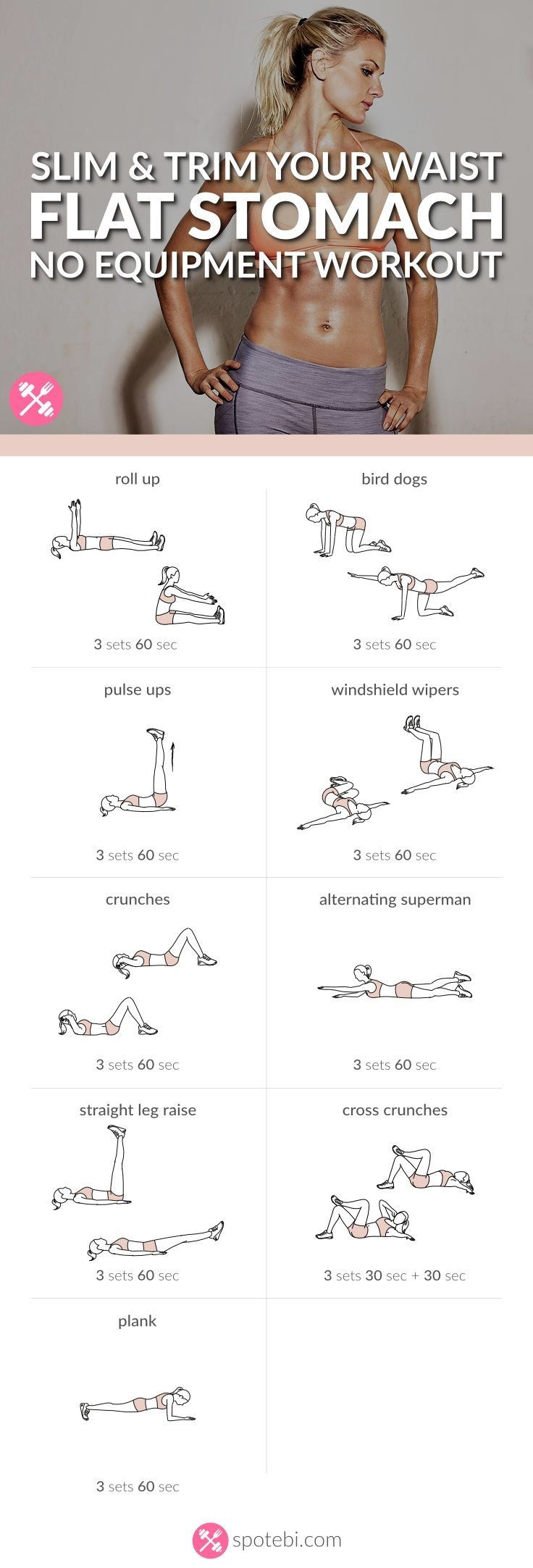 Want to easily whip your tummy into shape? Try this at home flat stomach workout for women, to sculpt your abs in no time, and get a slim, toned and trim belly. http://www.spotebi.com/workout-routines/flat-stomach-workout-slim-trim-waist/ #weightloss