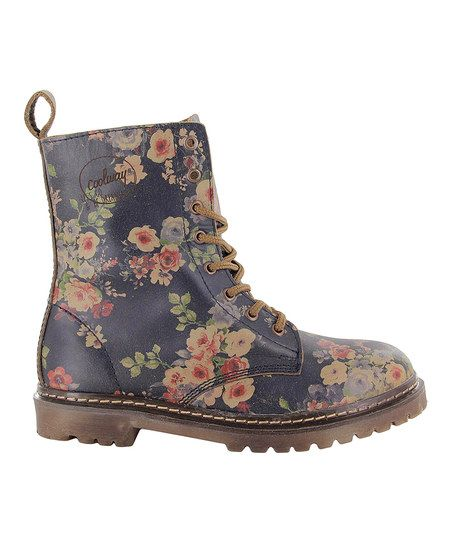 Navy Floral Elio Leather Boot