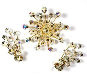 Vintage Alice Caviness Brooch and Earrings Signed AB Crystal Demi Parure