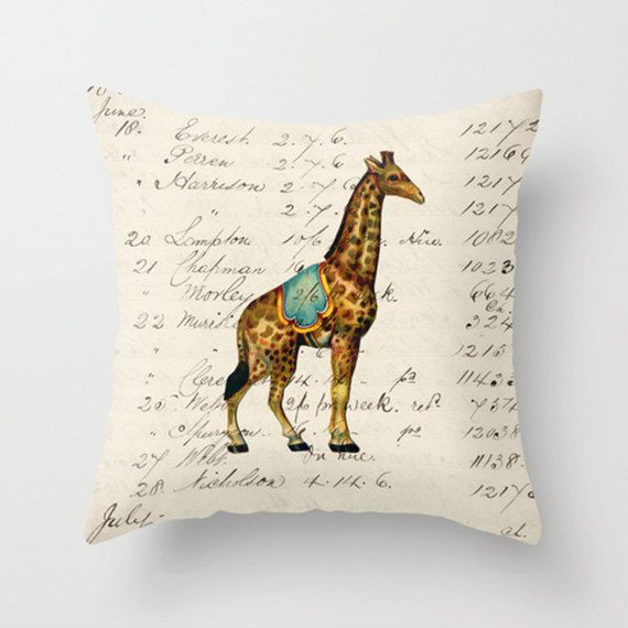 Throw Pillow Cover - Circus Giraffe - 16x16, 18x18, 20x20 - Pillow case Original Design Home Décor by Adidit