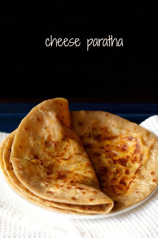 cheese paratha recipe - whole wheat flat breads stuffed with a spiced cheese stuffing.