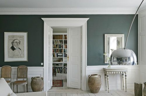 Best Colors For Entryway | green and white molding Dark Green Walls and White Trim