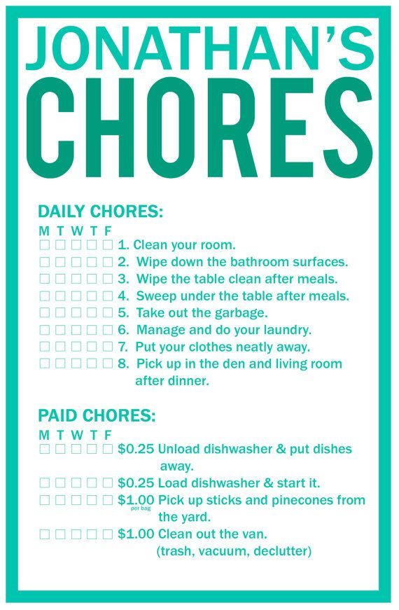 63 best Free Printable Chore Charts images on Pinterest Free - kids chore chart template
