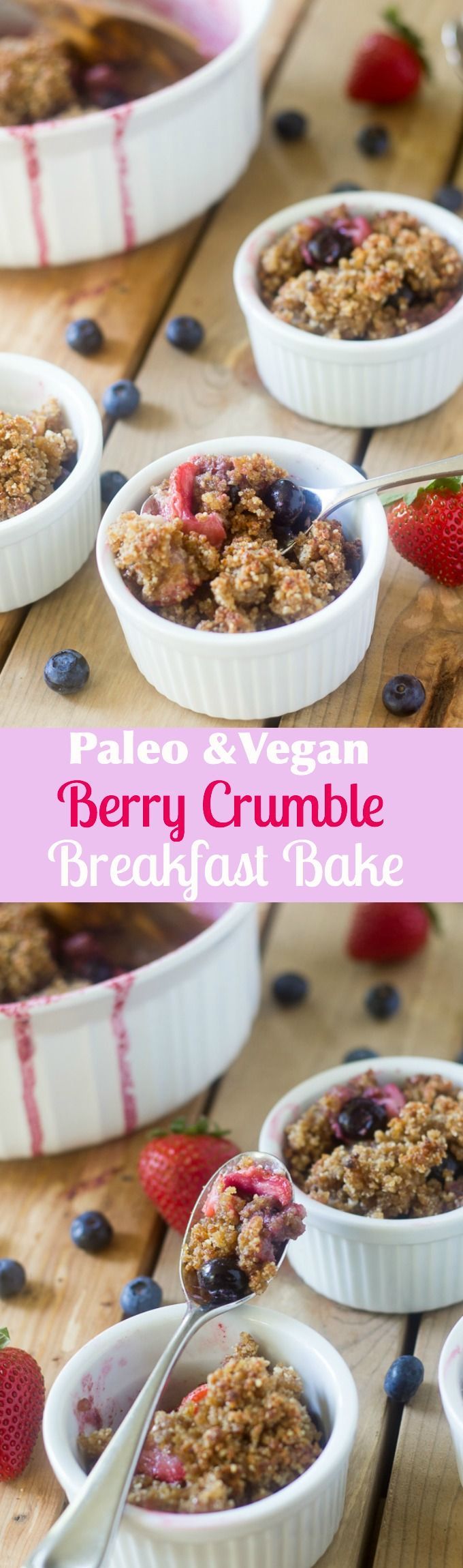 Paleo & Vegan Berry crumble breakfast bake with loads of fresh sweet berries, no refined sugar and a toasty crispy topping! Great for breakfast or a healthy dessert