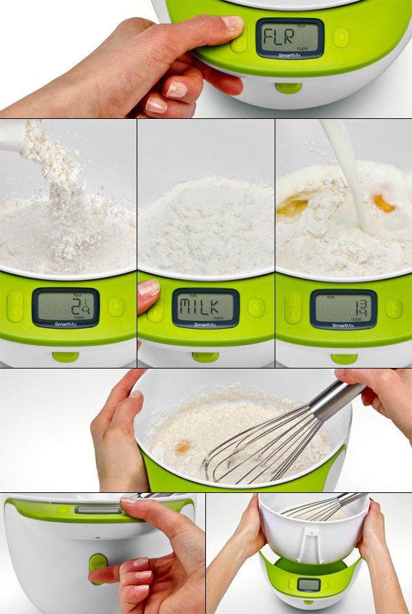 SmartMeasure Cup, this mixing bowl allows you to add and weigh ingredients both by volume and by weight, while preparing the recipe.: Mixing Bowls, Kitchens Gadgets Measuring, Smart Measuring, Mixed Bowls, Smartmeasur Cups, Weights, Measuring Cups, Weigh Ingredients, Bowls Allowance