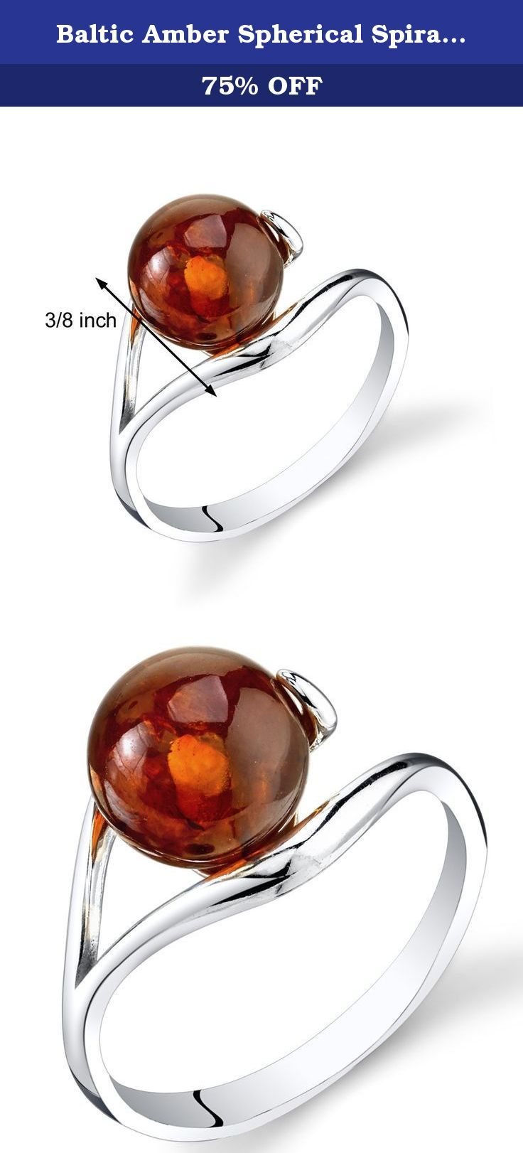 Baltic Amber Spherical Spiral Ring Sterling Silver Cognac Color Size 6. Genuine Baltic Amber, Rich Cognac Color, round sphere shape. Ring: 1.4 grams pure 925 sterling silver, Available in sizes 5 to 9. Ring features exceptional design, craftsmanship and finishing. Perfect gift for Mothers Day, Birthdays, Valentines Day, Graduation, Christmas or just about any other occasion. Money Back Guarantee. Includes a Signature Gift Box. Style SR11322.