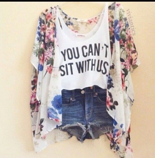 Tank top: colorful, mean girls, shorts, floral kimono, sweater, jacket, shirt, print, flowers, cute, summer, t-shirt, top, quite, meangirls, refrence, colorful, kimono, outfit, cute top - Wheretoget