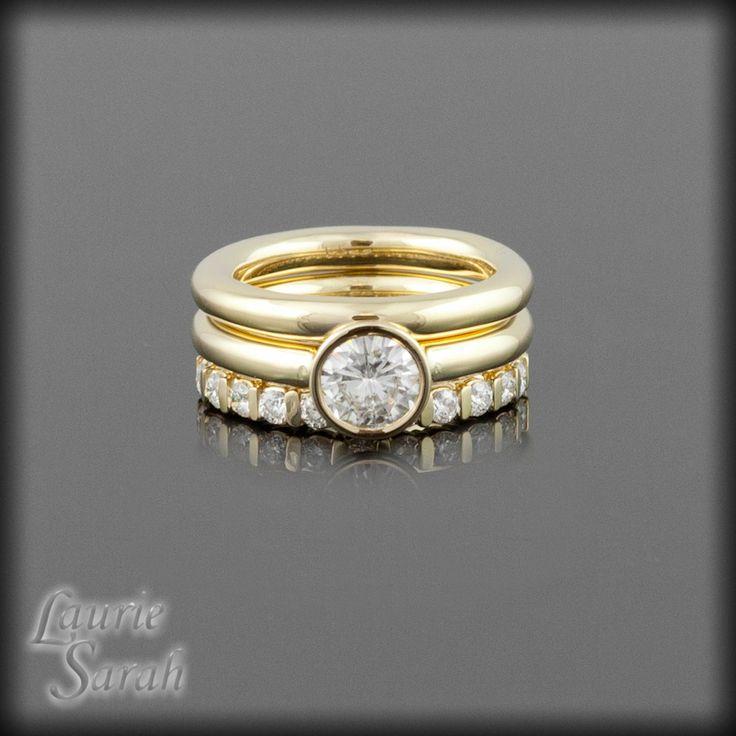 Forever Brilliant Moissanite Three RIng Wedding Set - Bezel Set Engagement Ring with plain band and Diamond Band - LS2174