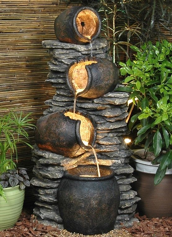 4 Pots On Rock Fountain Water Feature