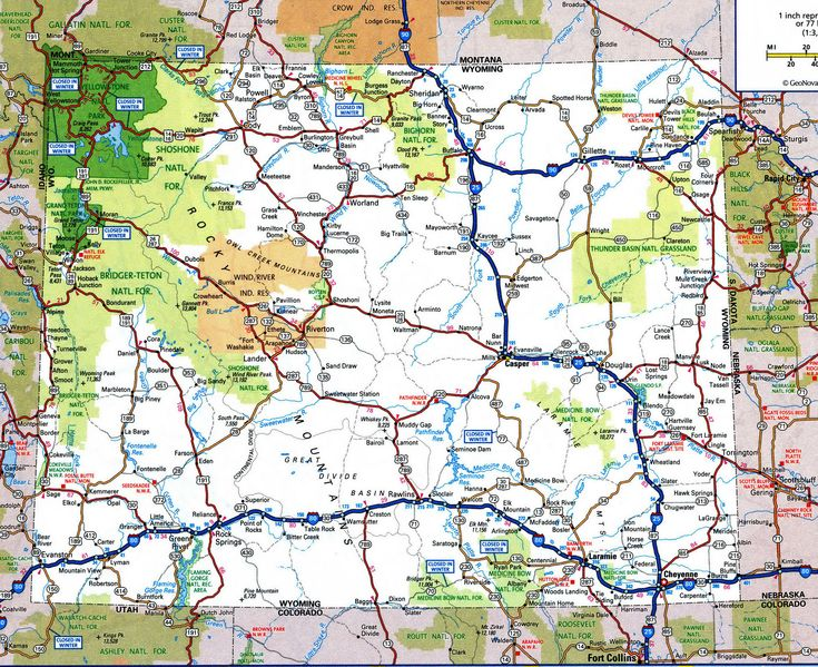 Road map of WyomingFree maps of US.