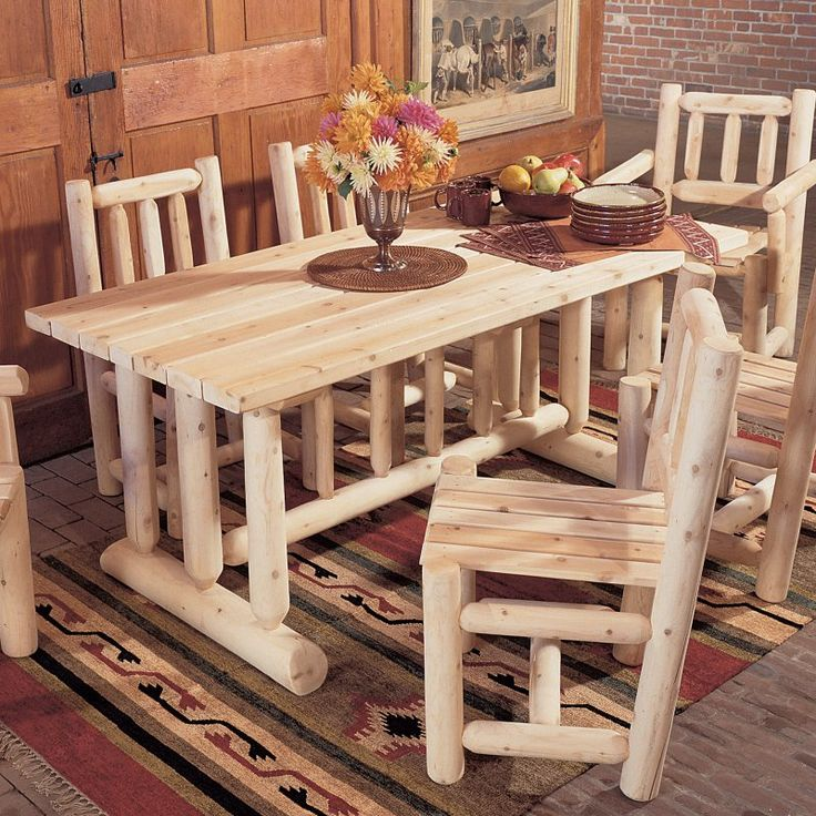 Rustic Natural Cedar Furniture Harvest Family Dining Table