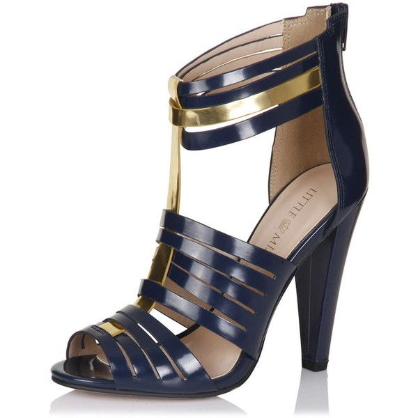 **Little Mistress Navy Multi Cut Out Heels (95 BRL) ❤ liked on Polyvore featuring shoes, blue, navy blue peep toe shoes, navy peep toe shoes, blue shoes, cut out shoes and strappy shoes