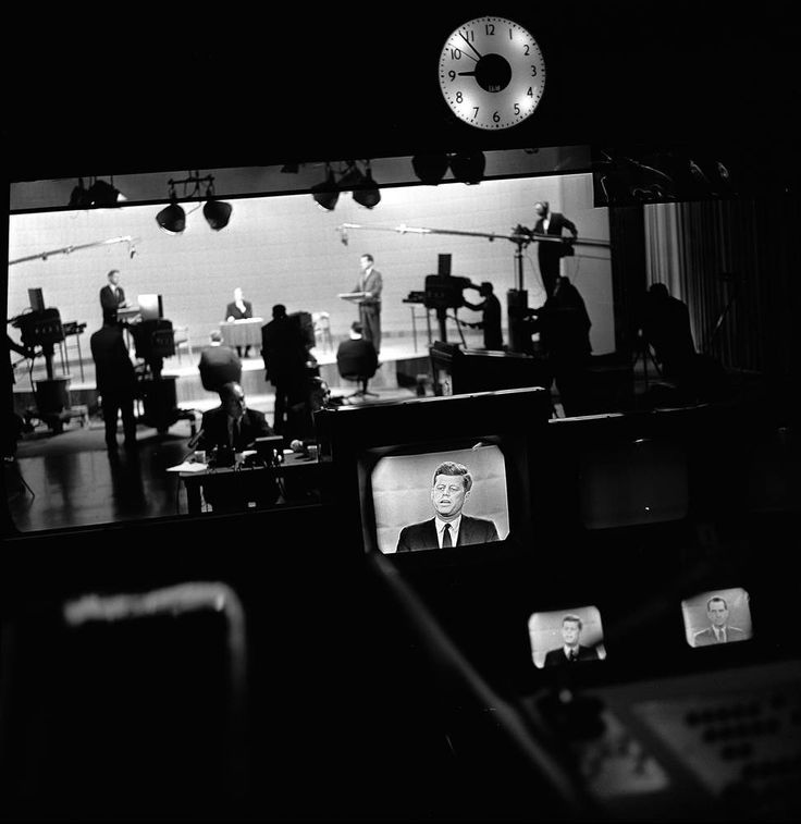 A view from the control room as Kennedy and Richard Nixon participate in the first televised presidential debate on Sept. 26, 1960. Nixon lo...