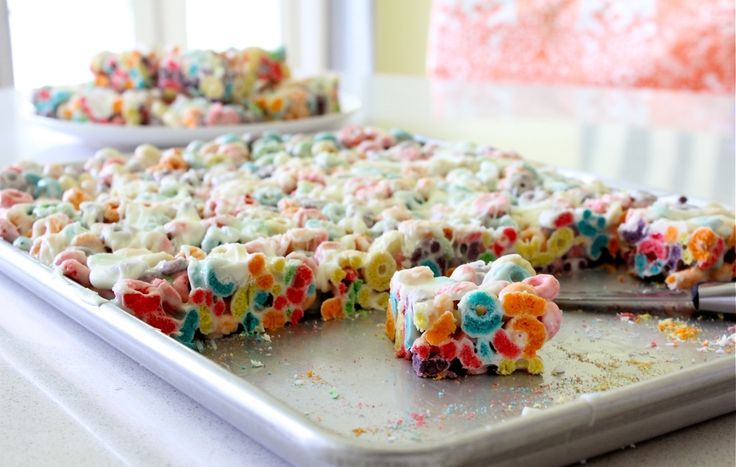 RECIPE: Fruit Loop Treats | MADE, same basic Rice Krispy treat recipe only substitute the rice cereal for fruit loops.