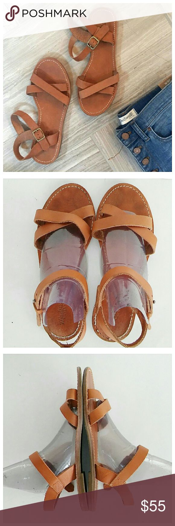 Madewell Sightseer Criss Cross Sandals Perfect neutral sandal that will go with everything. The thread has worn some on the rear footbed (see pic 4) but they're still in good shape overall. Covershot is for reference only.  Reasonable offers accepted  Madewell Shoes Sandals