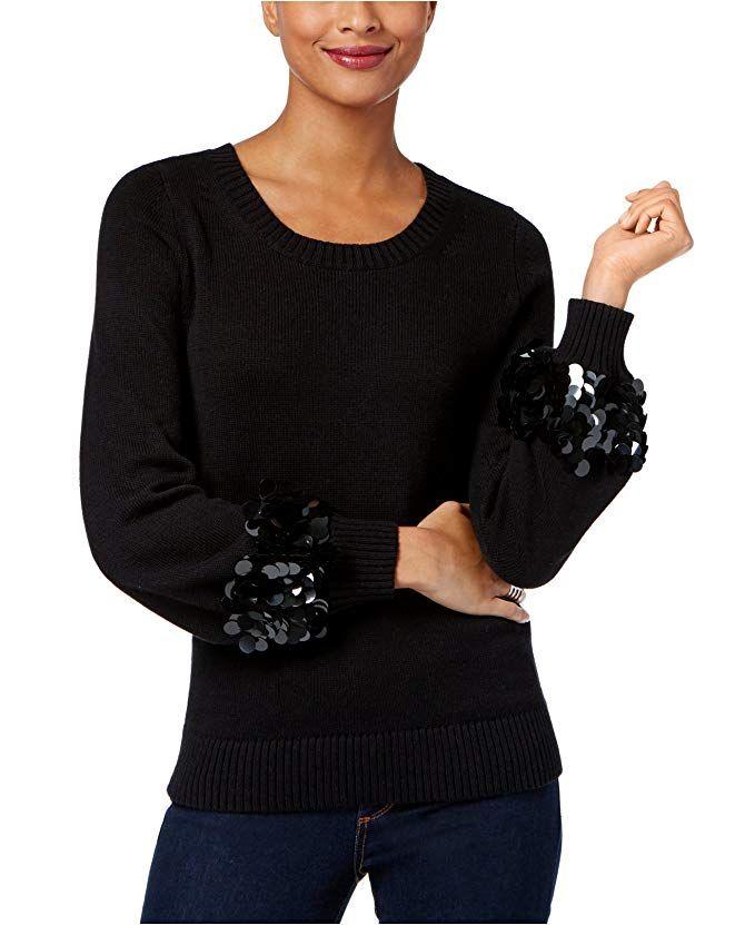 6790ffc0fbd MICHAEL Michael Kors Women s Cotton Sequin-Cuff Sweater (Black ...