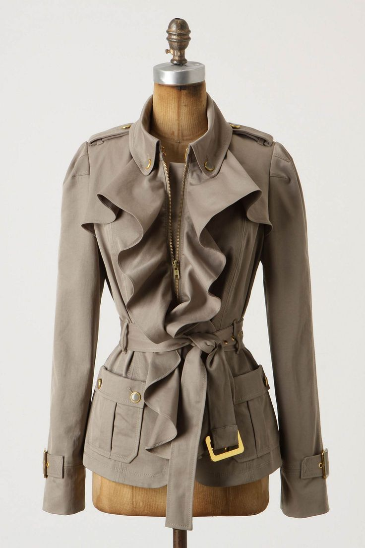 so sophisticated: Fashion, Femme Trench, Clothing, Trench Jackets, Fall Jackets, Styles, Trench Coats, Cute Jackets, Ruffles