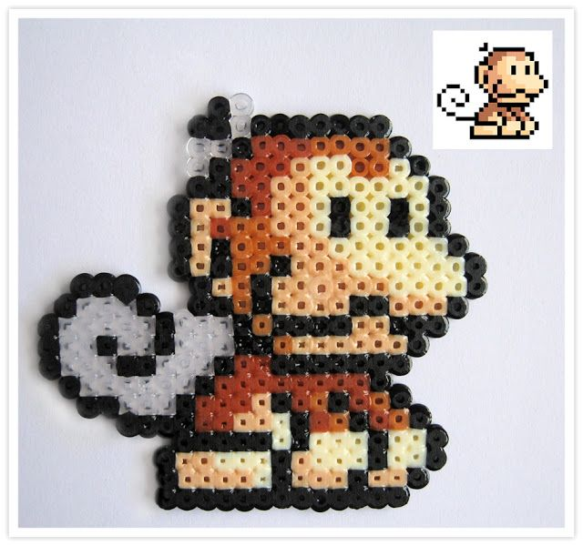 Ukiki Mario hama mini beads - Pixel Art Shop perler,hama,square pegboard,video games,nintendo,mario,