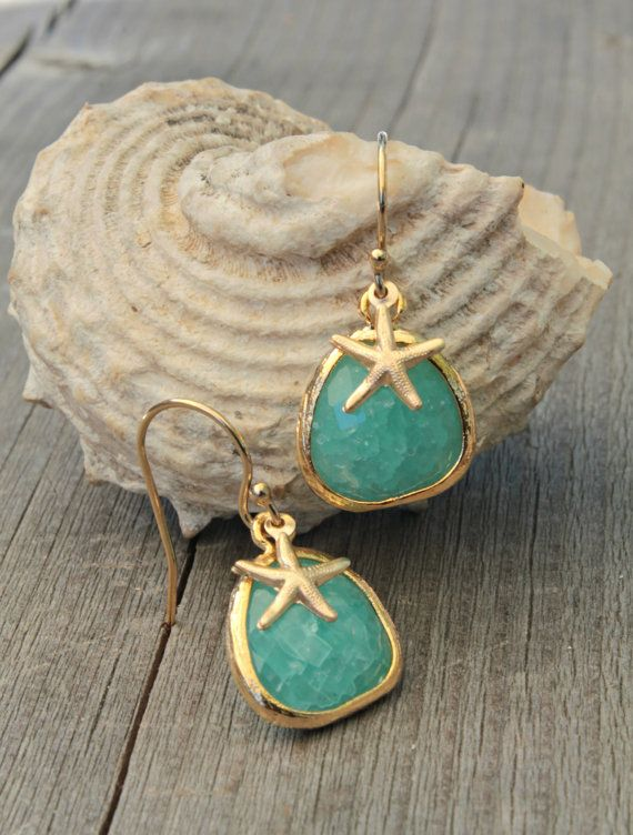 Cracked Lagoon blue Mint glass stones earrings  by potionumber9, $32.00