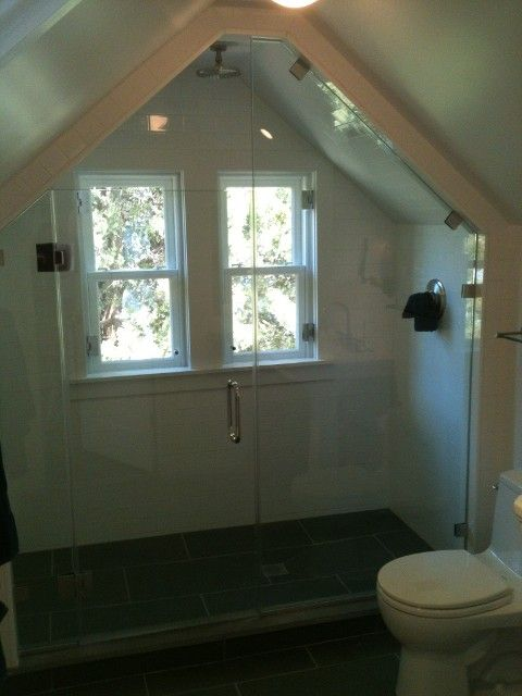 Angled Ceiling With Shower Door Attic Ideas Pinterest